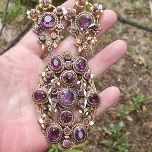 Rare Czech amethyst deco necklace